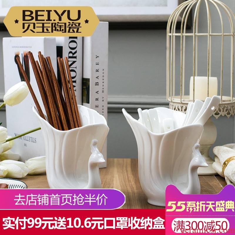 BeiYu white spoon holder ipads China chopsticks tube kitchen ware jingdezhen ceramics tableware chopsticks cage receive home