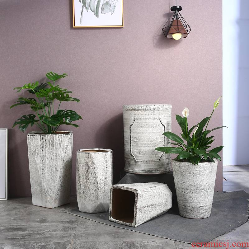 Ceramic flower pot oversized 30 cm high rich tree big flowerpot Ceramic plutus sitting room cycas money tree