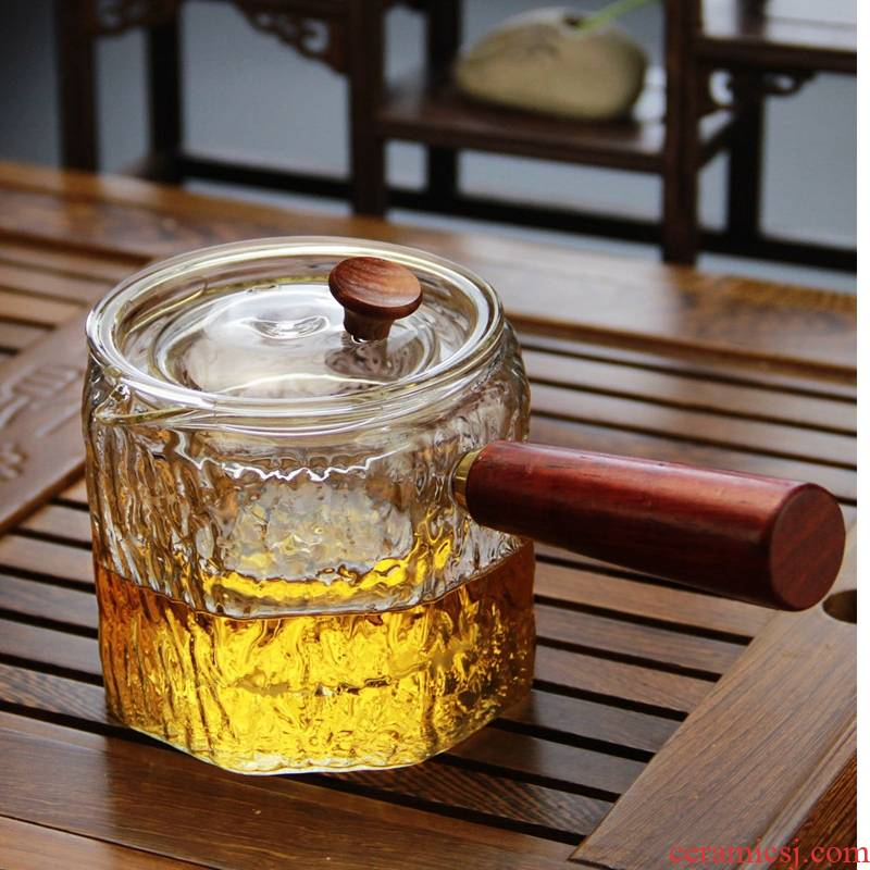 Royal for pure boiled tea glass teapot which can filter the wood hammer high borosilicate TaoLu tea set