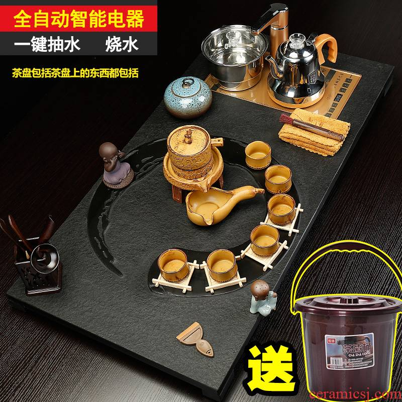 Back on a complete set of kung fu tea set suit household sharply stone solid wood tea tray was purple ceramic contracted tea tea taking