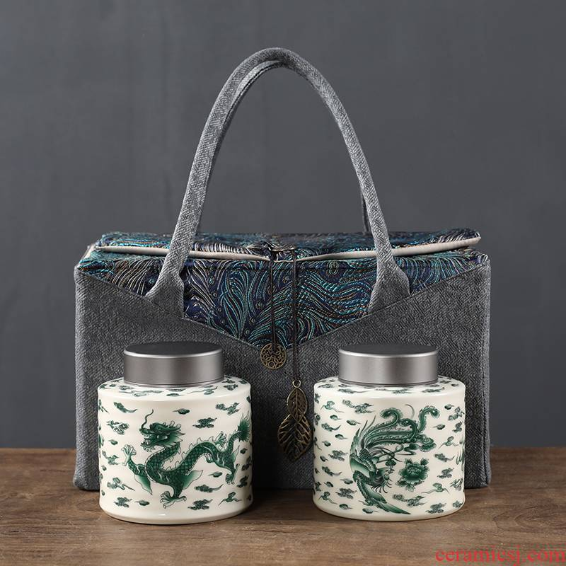 Longfeng ceramic large household storage tank is the west lake longjing tea double tin cover POTS of gift bag packaging