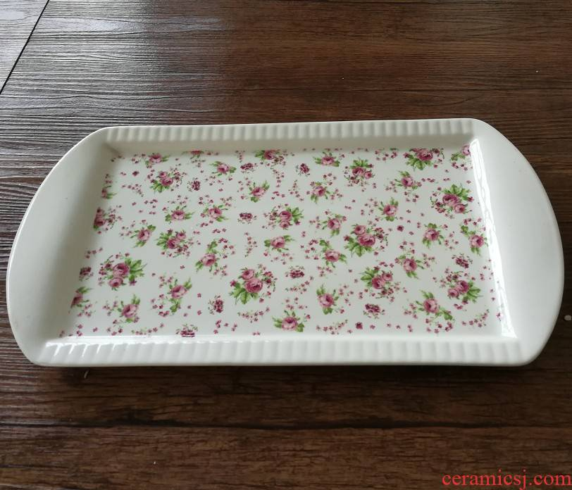 Rectangular plates Rectangular tray of household ceramic fruit bowl water glass tray