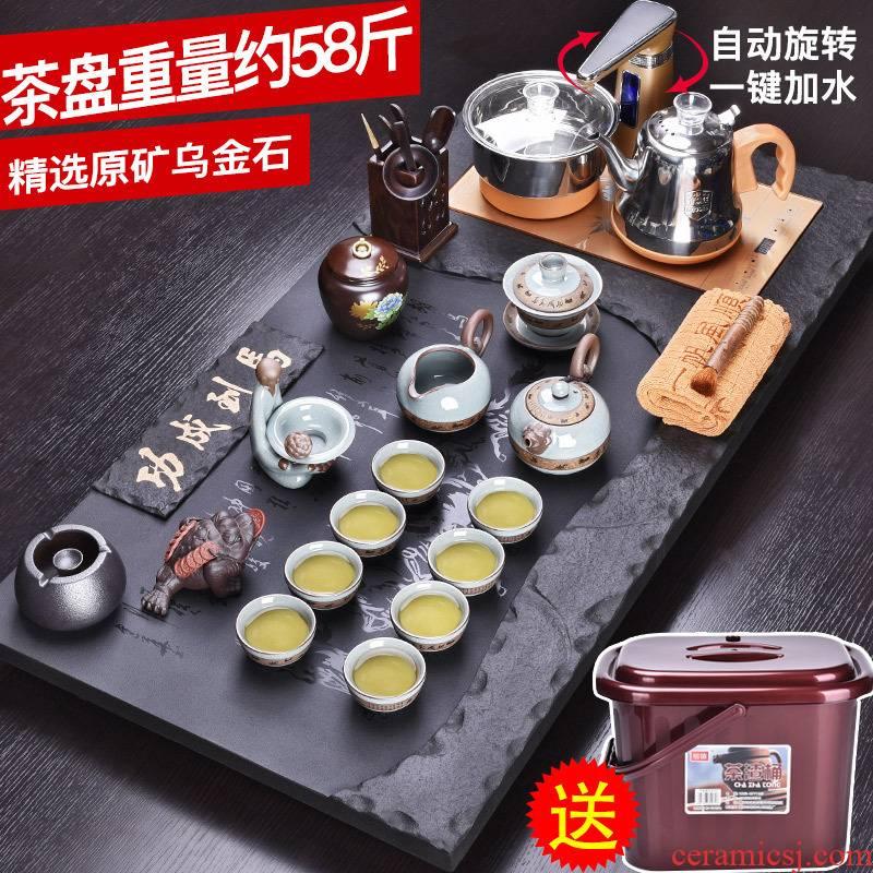 HaoFeng ceramic tea set suit household sharply stone solid wood tea tray was kung fu tea tea purple sand teapot teacup
