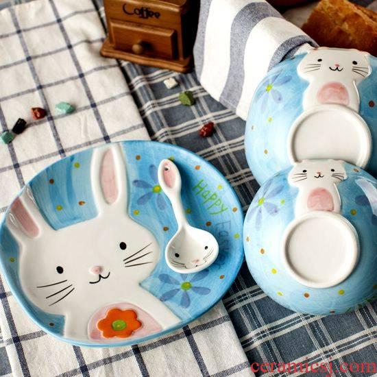 Jingdezhen creative cartoon hand - made rice dessert bowl of Japanese rabbits ceramic dishes cutlery set