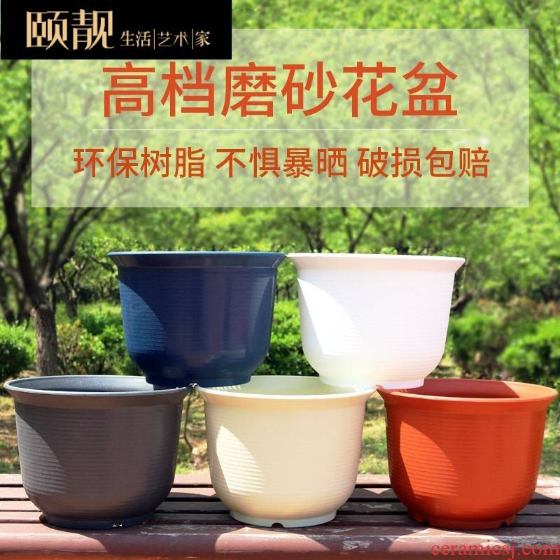 X white large gallon container imitation ceramic flower POTS of incomplete treatment to heavy fancy potted landscape belt tray was lazy people