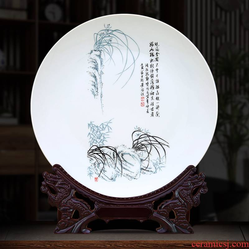 To photo plates of jingdezhen ceramics decoration furnishing articles color ink by patterns crafts hang dish wall coverings