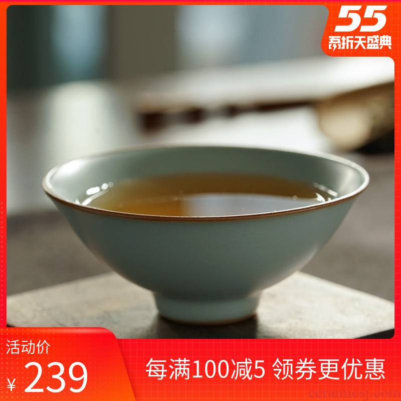 Your up hat to open the slice of jingdezhen ceramic sample tea cup cup master cup day blue ice crack glaze can raise hand