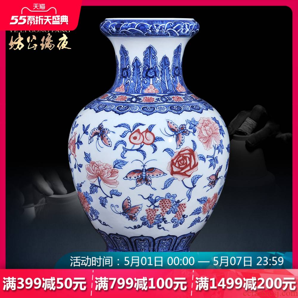 Jingdezhen ceramics antique blue - and - white youligong many children f vases, flower arranging Chinese sitting room adornment is placed