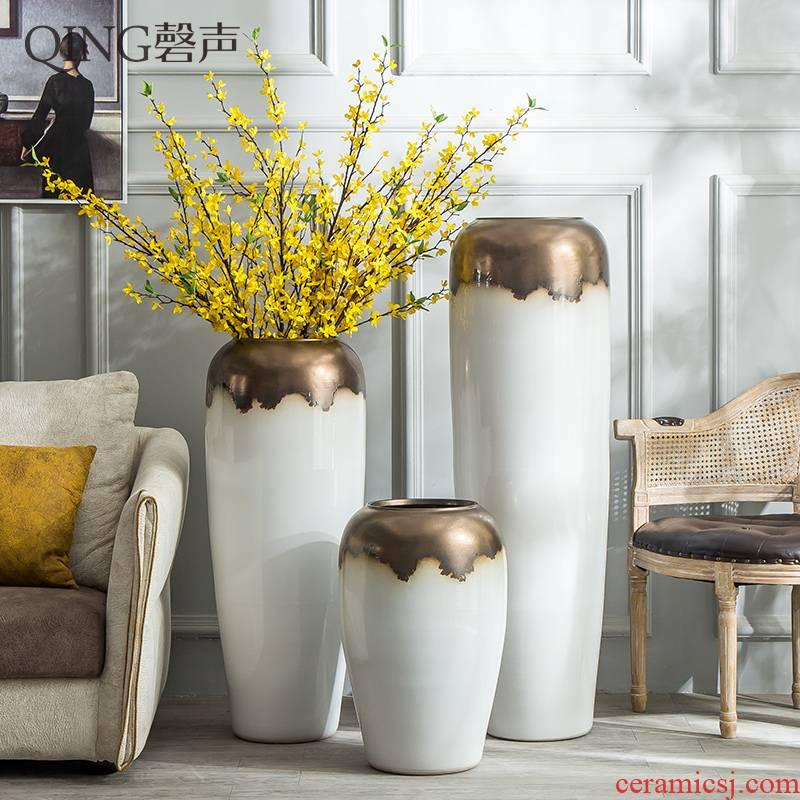 Jingdezhen ceramic big vase furnishing articles sitting room ground large modern European - style villa hotel decoration decoration floral outraged