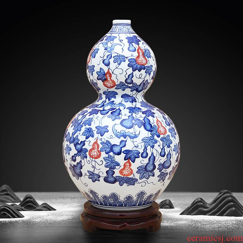 Jingdezhen ceramic Chinese antique hand - made of blue and white porcelain vase youligong gourd furnishing articles sitting room feng shui flower arrangement