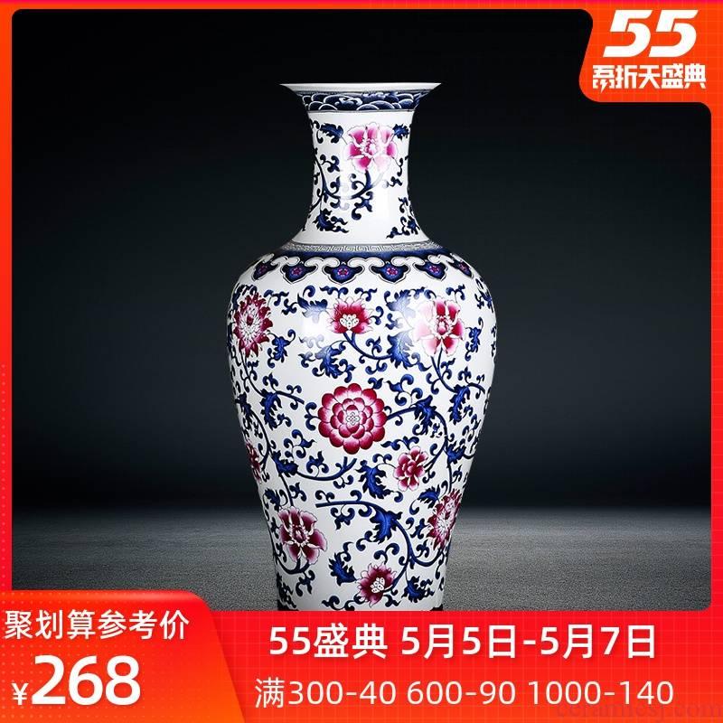 Jingdezhen ceramics youligong large blue and white porcelain vase Chinese style household adornment furnishing articles sitting room porch