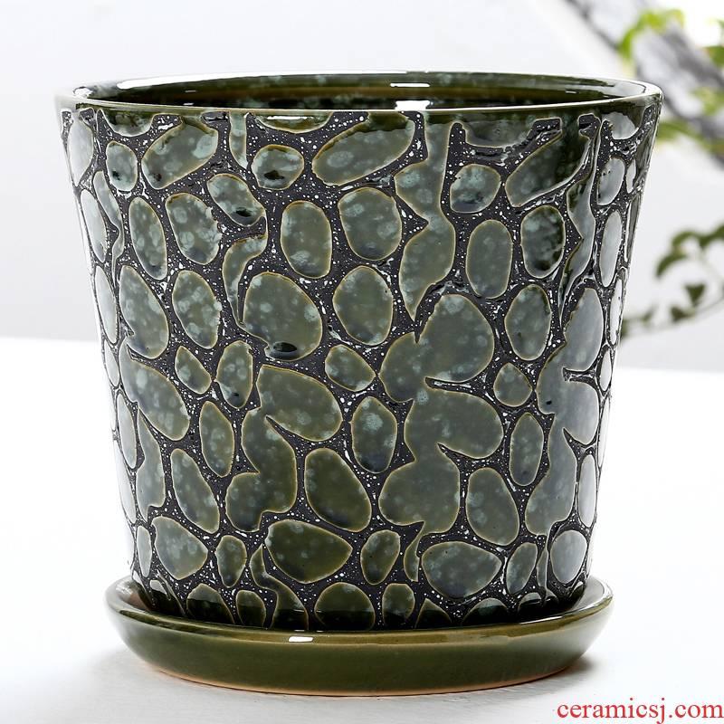 Flowerpot ceramic basin with tray wholesale oversized Chinese wind balcony, fleshy bracketplant money plant garden Flowerpot pack mail