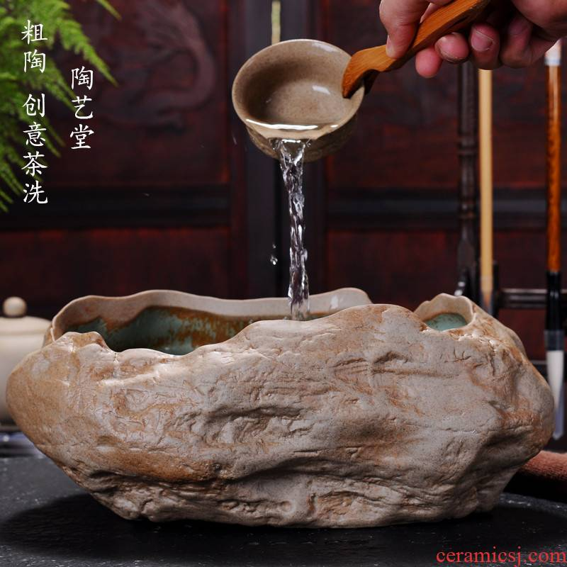 Creative coarse pottery built large bucket retro stone tea wash your pen ceramic cup water to wash the tea taking with zero pot fish tank