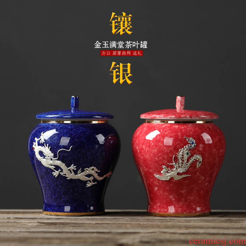 Silver ceramic tea pot size, storage seal tea packaging gift box longfeng Silver paint POTS