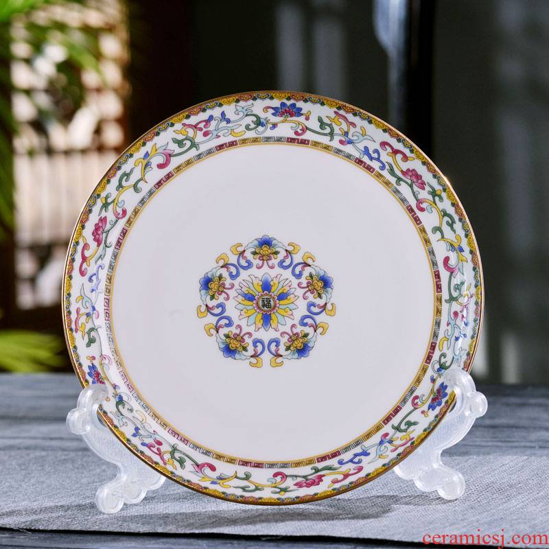 7/8 of an inch of jingdezhen ceramics dishes Chinese style household ceramic flat plate plate plate deep plate tableware