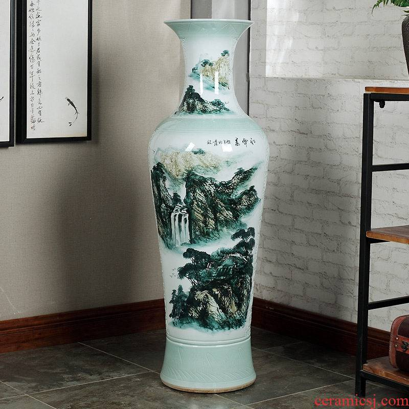 Jingdezhen ceramics of large vases, antique hand - made carving peony hotel opening sitting room adornment is placed