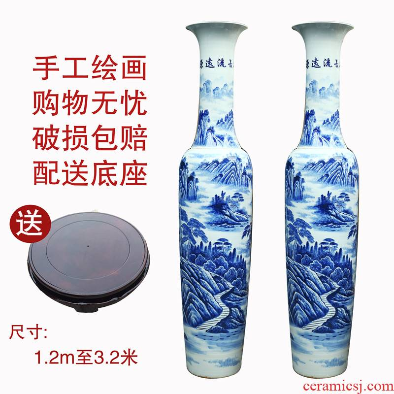 Jingdezhen blue and white landscape splendid ceramic hand - made pieces of large vase hotel villa decoration furnishing articles