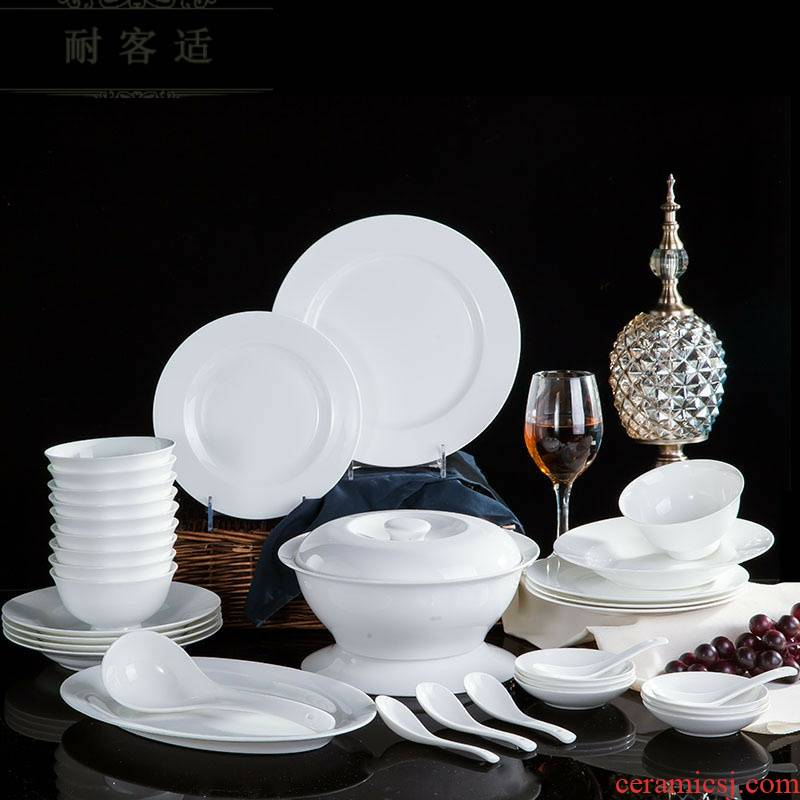 Hold to guest comfortable jingdezhen ceramic tableware suit pure white bowl of compact ipads porcelain tableware DIY customizable LOGO household