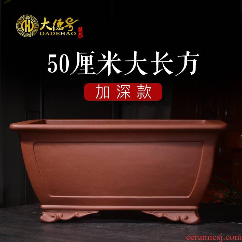 Greatness, rectangular yixing purple sand flowerpot potted bonsai pot green plant 50 centimeters long five hieroglyphics big flower pot