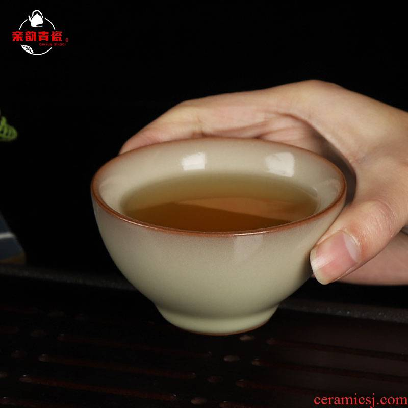 Get together scene scene kung fu master cup single cup tea cups celadon ceramic sample tea cup wang wen imperial yellow lard is frozen