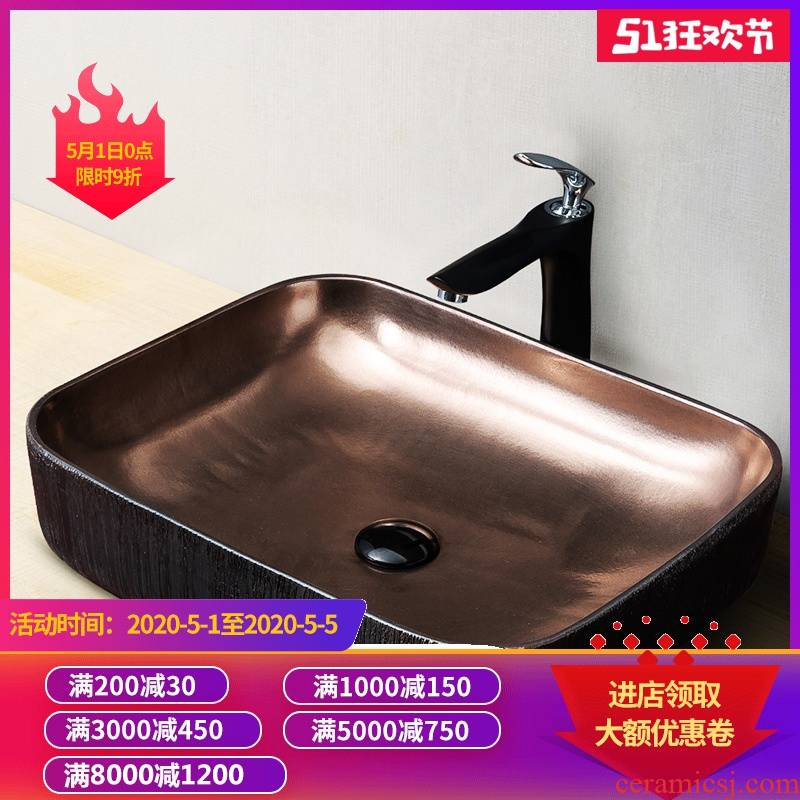 Gold stage basin rectangle washing toilet household oval art ceramic wash basin that wash a face basin to wash your hands