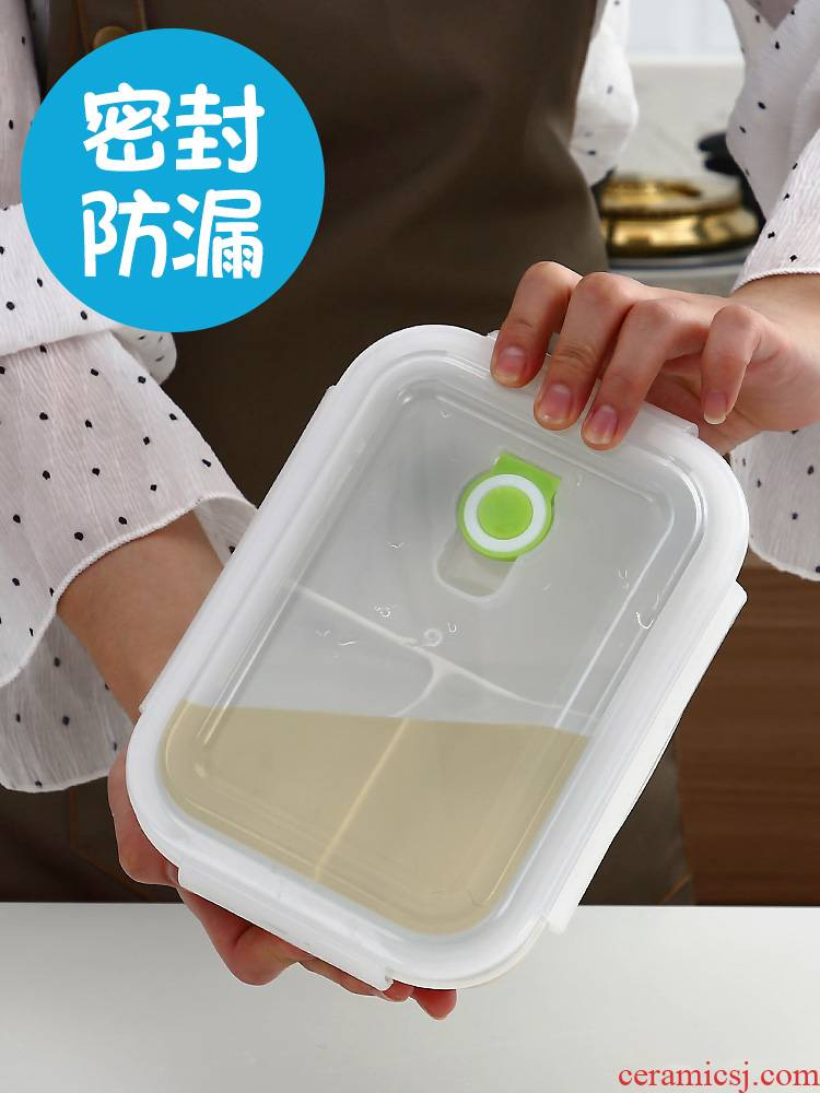 Lunch box bento Lunch box office worker girl lovely heart cellular ceramic bowl with cover can microwave heating is special