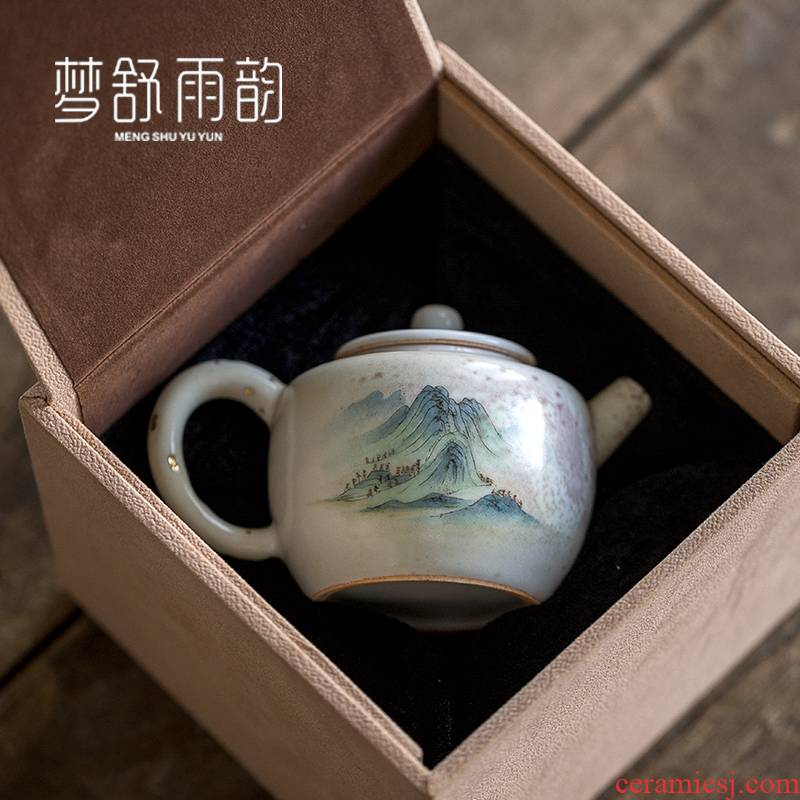 Dream ShuYu rhyme pure manual hand embryo jingdezhen ceramic teapot creative system of single pot teapot enjoying furnishing articles