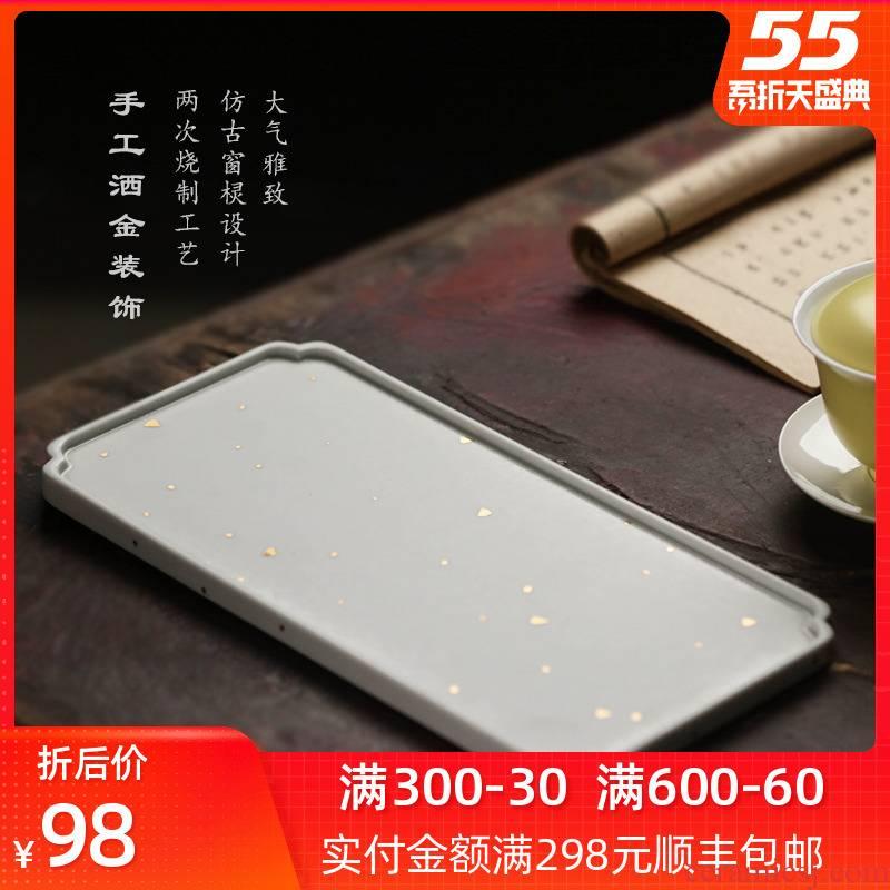 Bright product small tea sea archaize ceramic tea tray was jingdezhen kung fu tea tray was Japanese Jin Bai CiHu dry mercifully machine