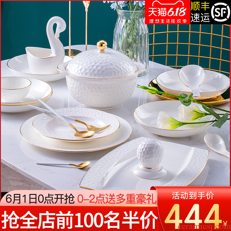 The dishes suit household jingdezhen European high - grade ipads China tableware suit contracted up phnom penh ceramic bowl dish combination