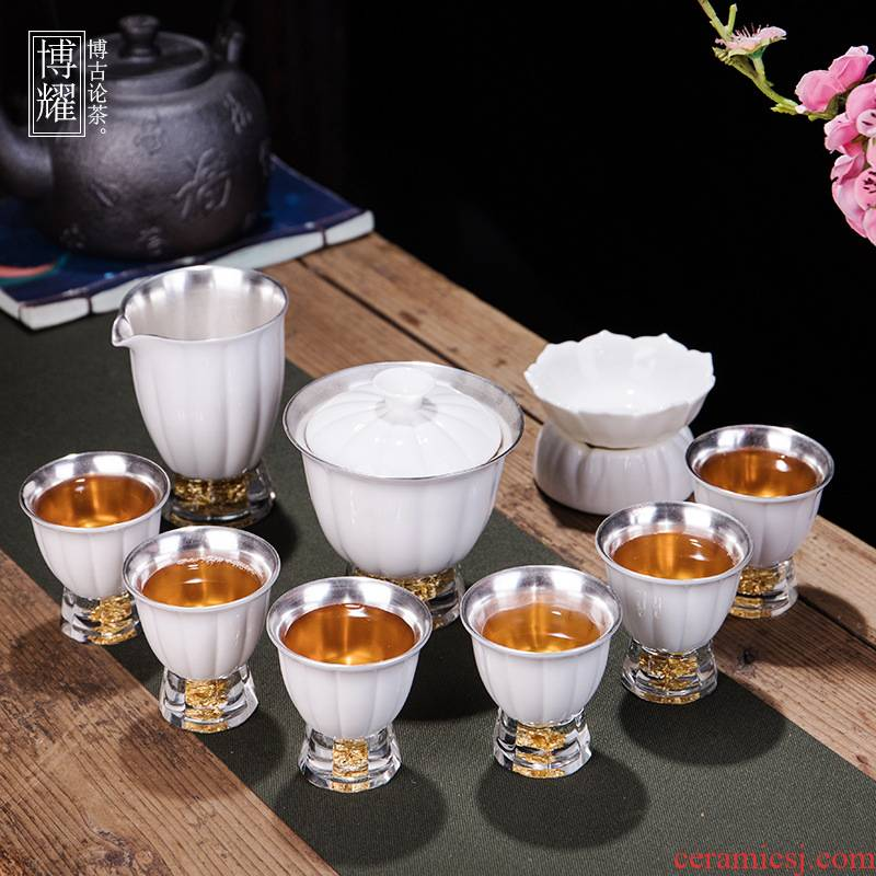 Bo yao 999 sterling silver mine loader silver kung fu tea set white porcelain household pure silver hand town office high - end gifts