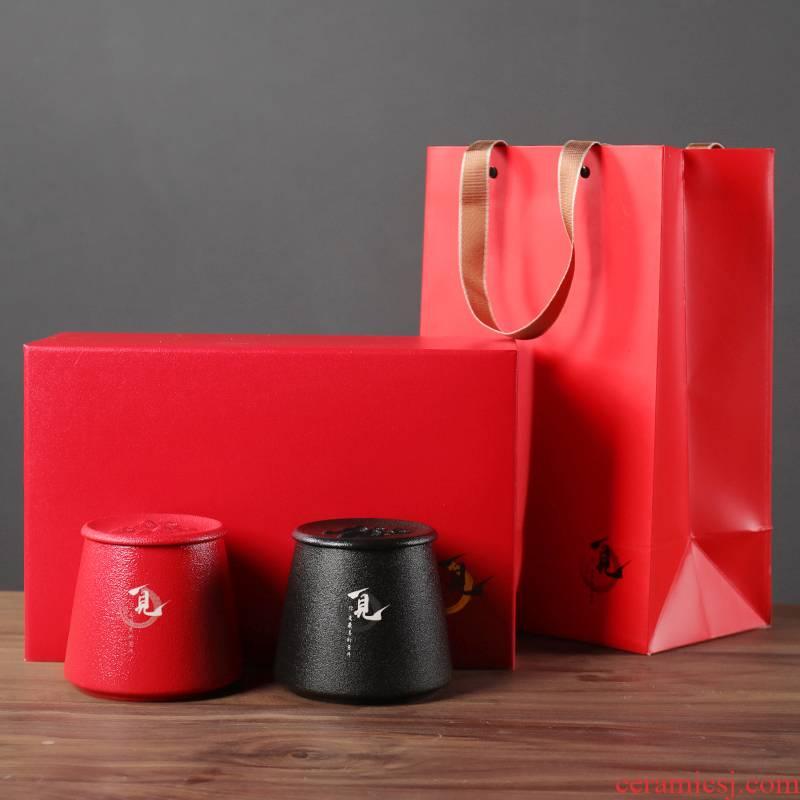 "Tea packaging gift box ceramic dual general ""biluochun"" Tea, green Tea caddy fixings seal pot aneroid wholesale"