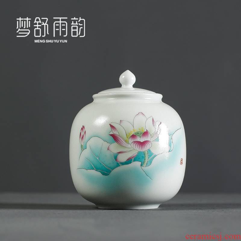 Dream ShuYu rhyme dehua white porcelain ceramic seal caddy fixings wake receives moistureproof pu - erh tea warehouse Chinese wind furnishing articles