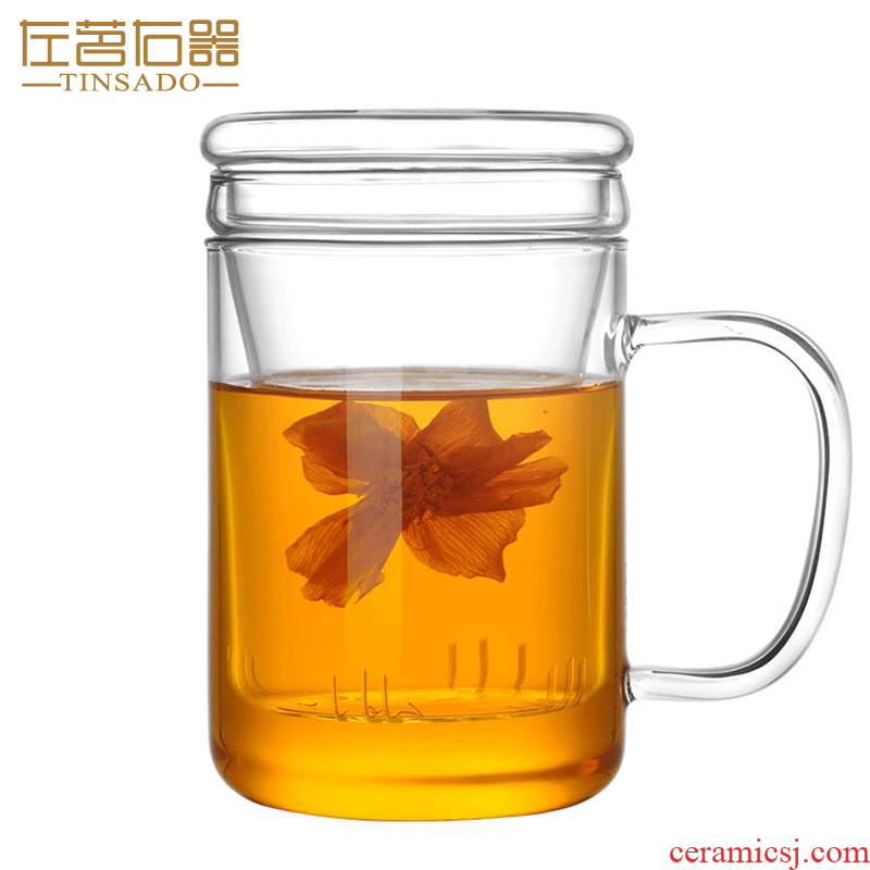 ZuoMing right implement separation of tea glass transparent filter glass cup three cups of tea home with thick glass