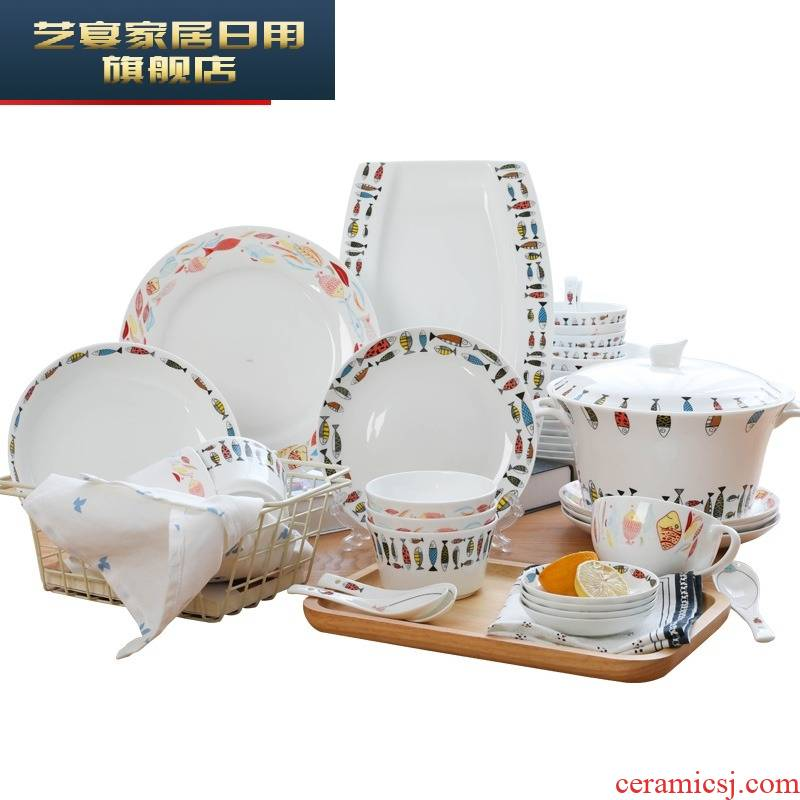 Dishes suit household portfolio Korean lovely ceramic Dishes contracted creativity tableware sets chopsticks move and pure and fresh