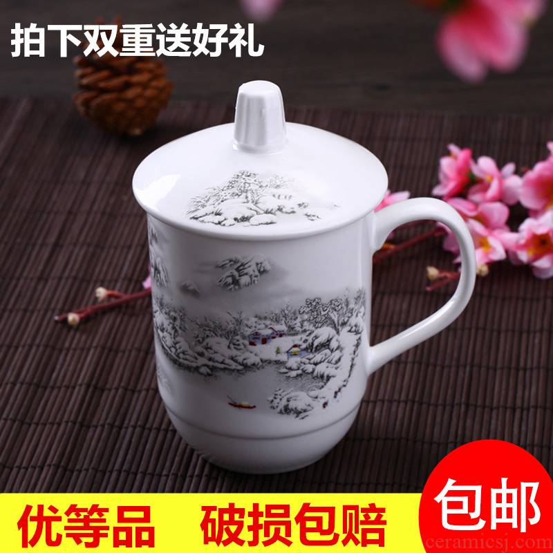 Back at jingdezhen ceramic cups with cover glass creative ceramic cup cup office meeting