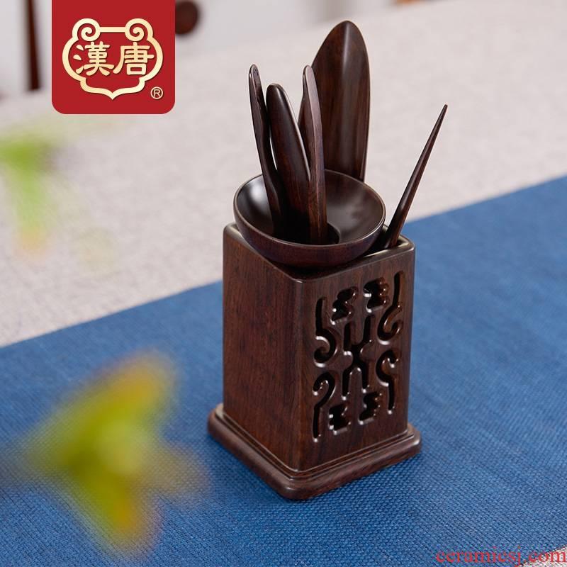 Han and tang dynasties, black rosewood tea six gentleman 6 woolly solid wood home tea sets accessories of a complete set of tea tea set