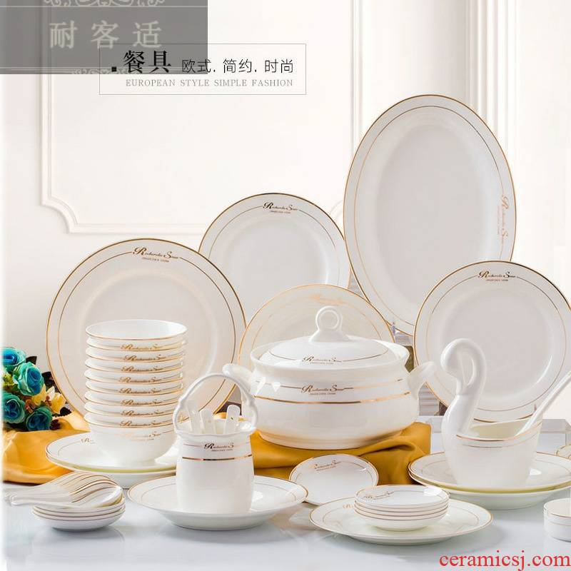 Hold to guest comfortable jingdezhen ceramic tableware suit China 60 pieces of bowl dishes suit combination Jin Yingwen mail bag