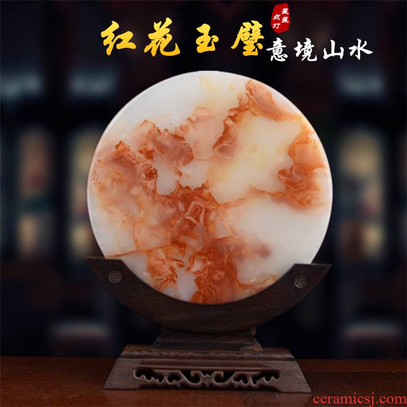 Red flower ice jade peace buckle, furnishing articles sitting room porch Chinese landscape artistic conception with the teahouse office decoration