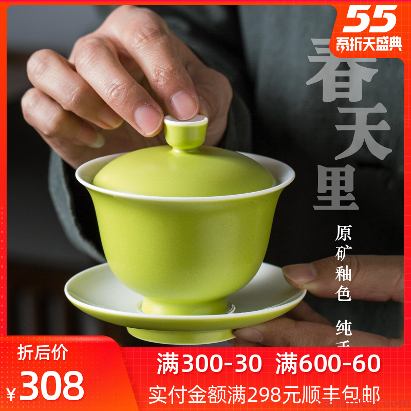 Three tureen large single tea bowl cups of jingdezhen restoring ancient ways is not only a hot checking ceramic tea set