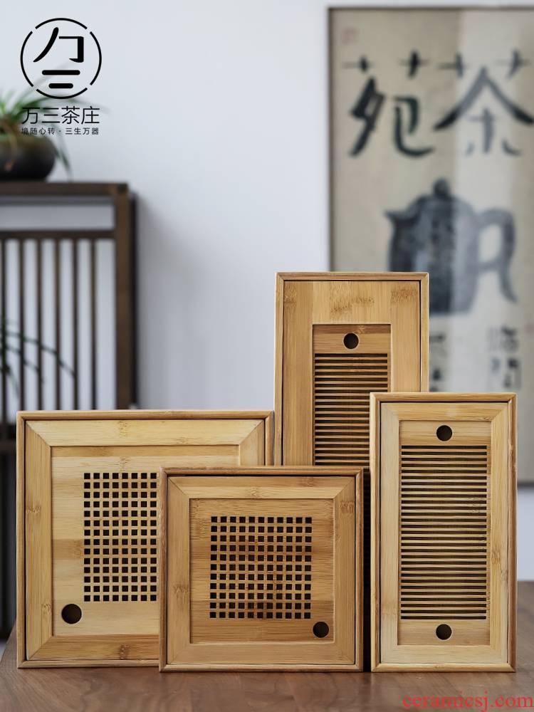 Three thousand tea bamboo tea tray household rectangle I and contracted small water bamboo kung fu tea tray tray
