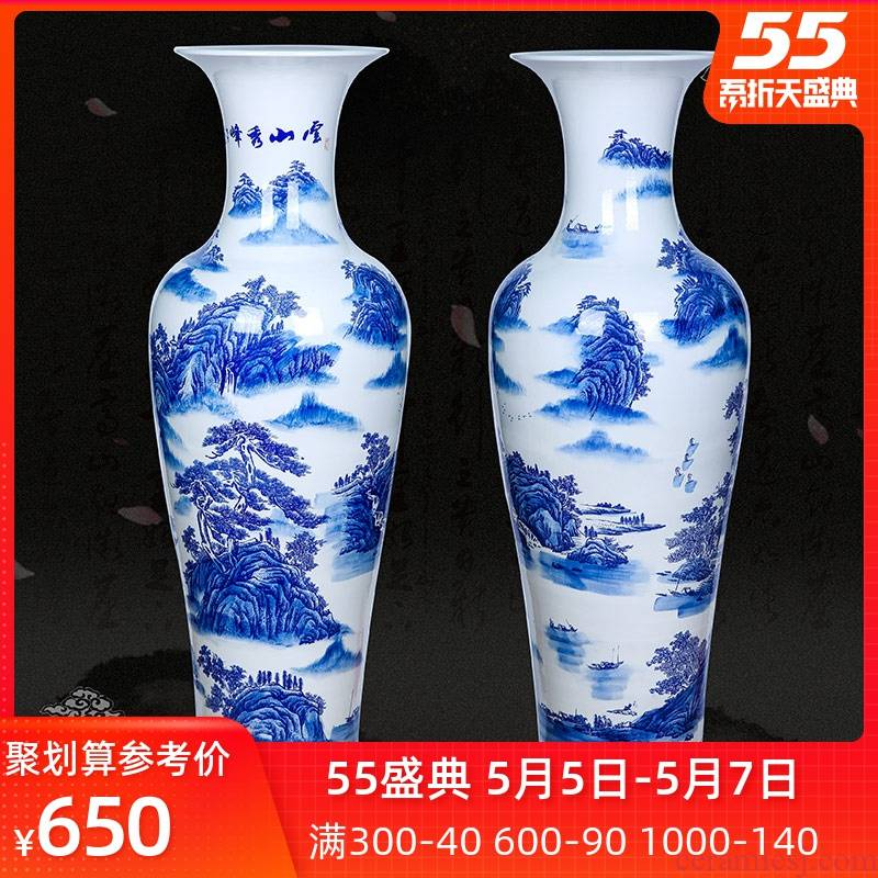 Jingdezhen ceramic blue and white landscape yunshan xiufeng of large vase sitting room of Chinese style household furnishing articles decoration for the opening