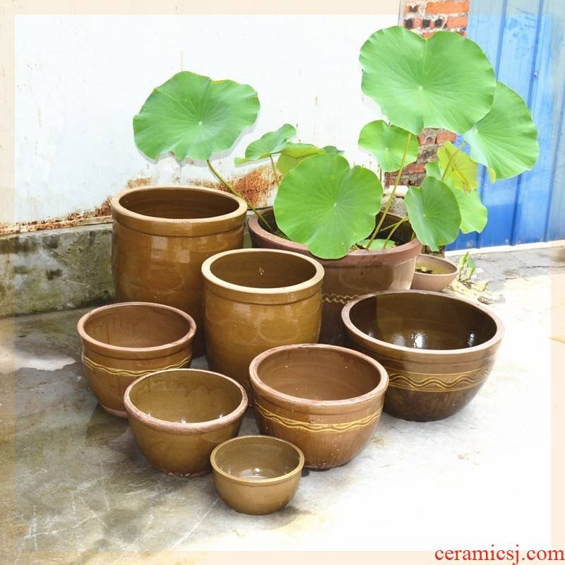 Home old mud cylinder tank large coarse ceramic JiangGang fish pickled vegetables garden water lily vitrified clay cylinder courtyard