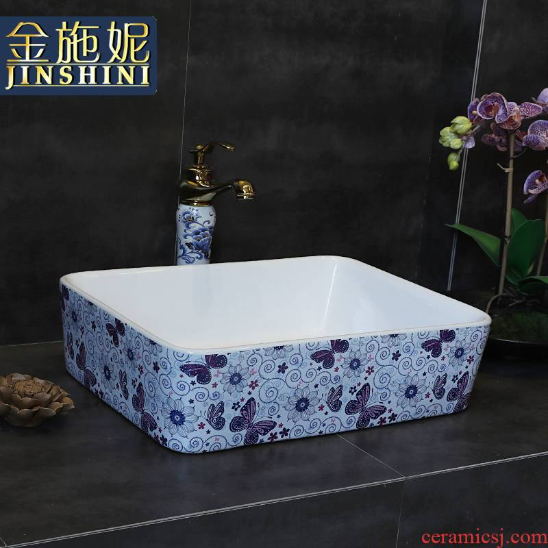 Gold cellnique lavatory jingdezhen blue and white art of restoring ancient ways is the stage color round the pool that wash a face can be spilled water