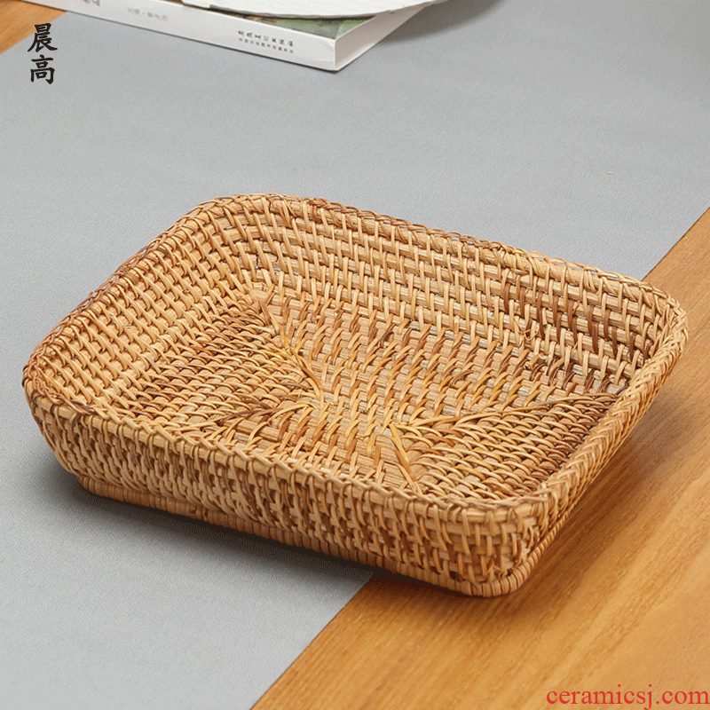 Morning the cane top service up a fruit basket household dried fruit snacks tea tea table to receive high box woven fruit basin snack plate