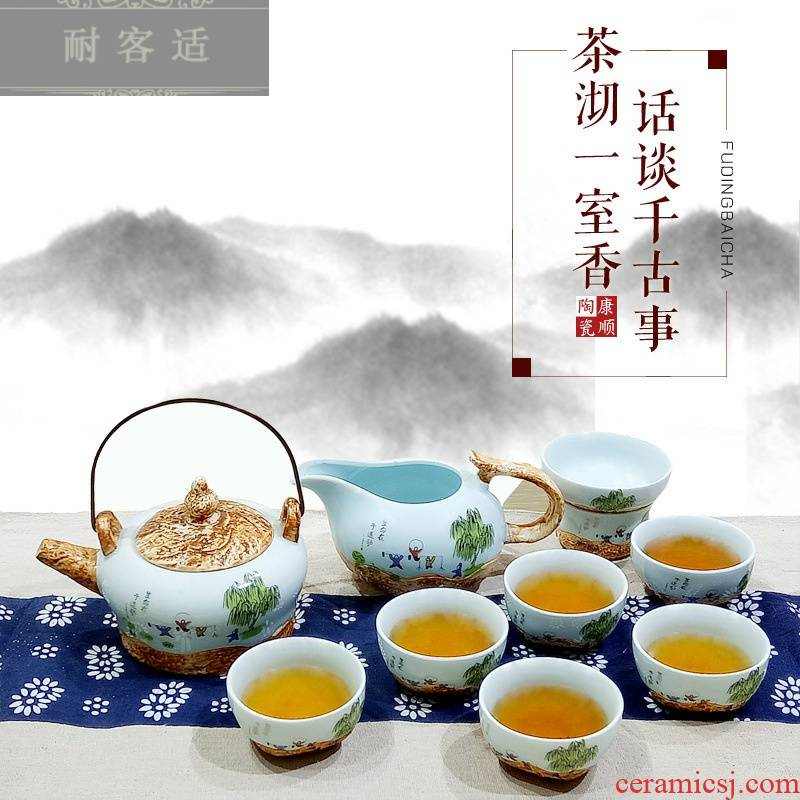 Hold to guest comfortable manufacturers shot celadon kung fu tea sets suit high - end gift box of jingdezhen ceramic tea set