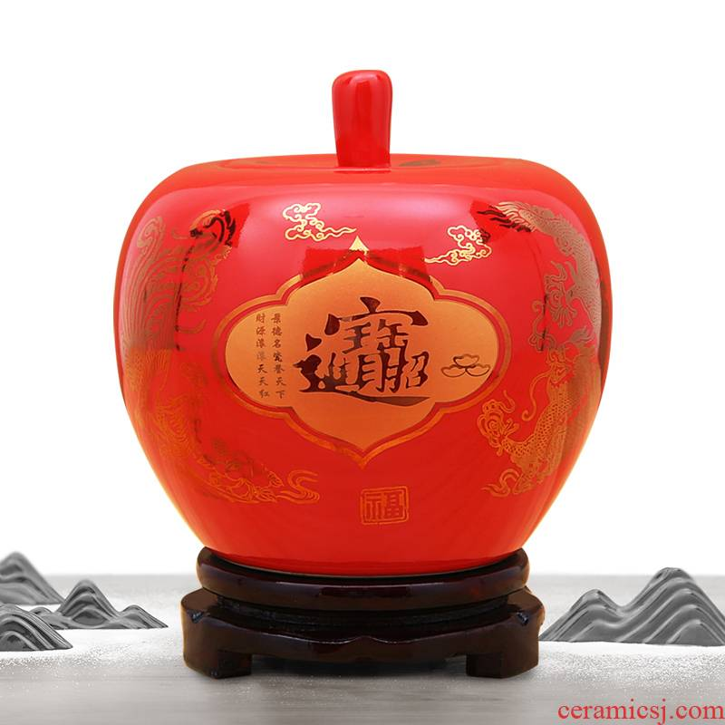 Jingdezhen ceramics China red Christmas apple fruit furnishing articles modelling storage tank is festival festival decorations