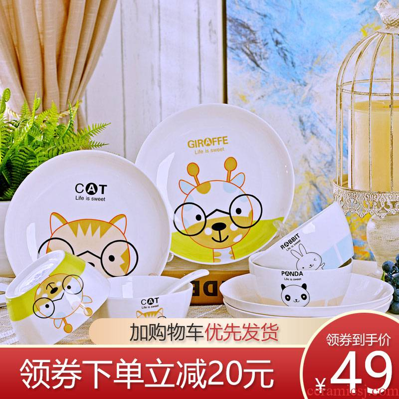Jingdezhen ceramic 16 cartoon dishes suit ceramic bowl chopsticks microwave oven plate to eat bread and butter