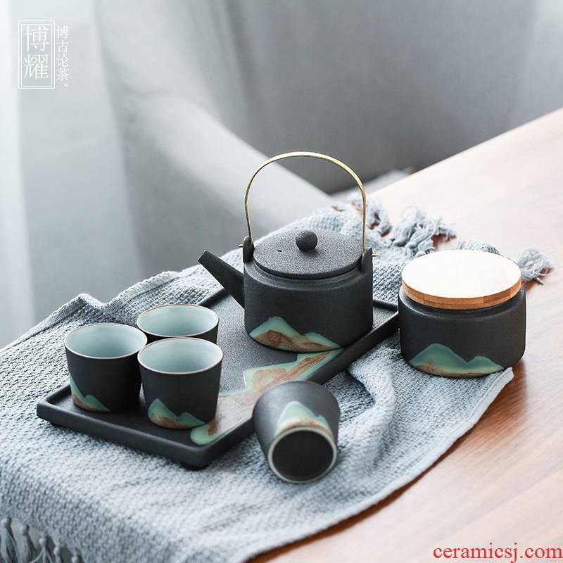 Bo yiu-chee coarse ceramic tea set office suit household contracted sitting room teapot teacup tea dry terms ceramic kung fu tea set