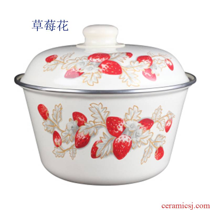 Nostalgic classic with cover enamel tub of lard rice pot boil Chinese medicine healthy environmental protection, old household kitchen tables big basin