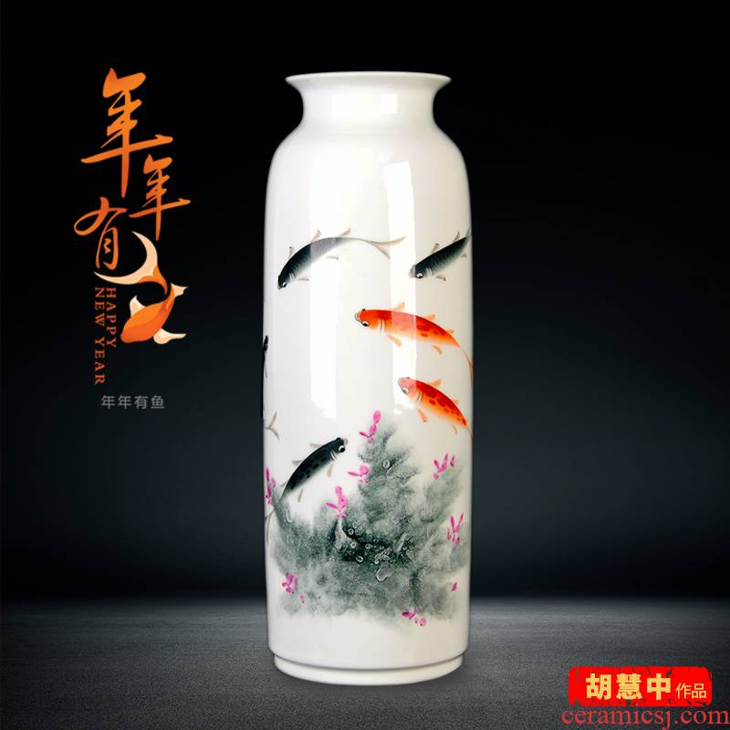 Jingdezhen ceramics masters hand - made lucky bamboo vase landed furnishing articles of modern home sitting room porch decoration
